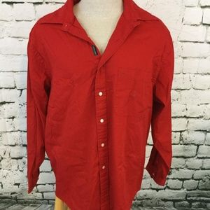 Nautica Mens Sz XL Shirt Red Long Sleeve Button-Up